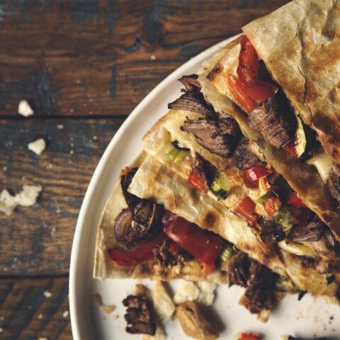 Beef Carnitas and Roasted Veg Quesadillas