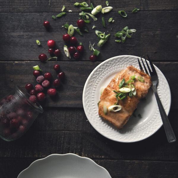 Cranberry Pear Glazed Salmon